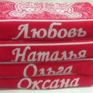 Полотенце махровое пестротканое имена 48х90